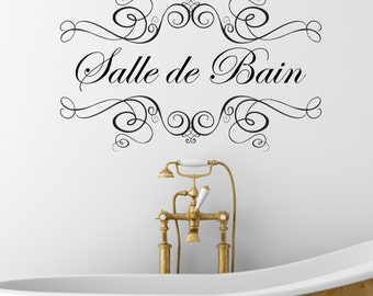 Items similar to bathroom wood laser door sign affiche - Sticker carrelage salle de bain ...