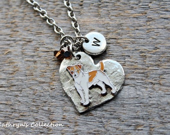 Jack Russell Terrier Necklace, Jack Russell Terrier, Jack Russell Jewelry, Heart Dog Jewelry, Jack Russell Gift