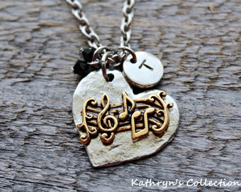 Music Necklace, Music Jewelry, Music Lover, Gift for Music Lover, Music Teacher Gift, Music Notes