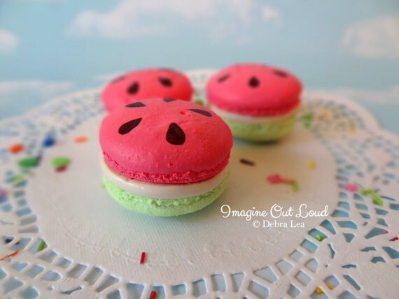 FAUX MACARON Set Watermelon Summer Pink Lime