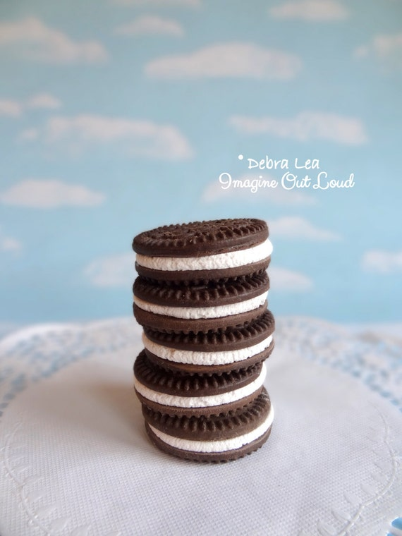 Fake Cookies Five Handmade Faux Chocolate Cream Sandwich Cookie Fake Food Artficial Realistic Photo Prop Display Kitchen