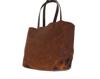 TOTE.0 Hand Stitched Tote bag, womens tote, leather tote, maine leather tote, maine, handmade leather tote