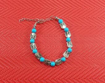 Turquoise Owl Bracelet - Owl Beaded Bracelet - Silver Tone Owl Bracelet - Wisdom Bracelet - Bird Bracelet - Turquoise beads bracelet - Owls