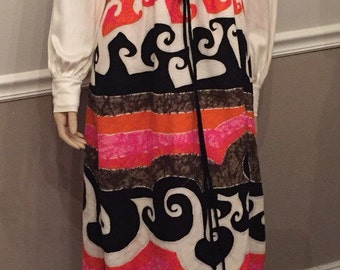 Super cool Unique vintage 70's long sleeve polyester and psychedelic Artsy skirt / size 9/11
