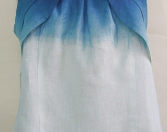 Linen top, hand-dyed indigo, ombre dye, dip dye, blue and white, upcycled