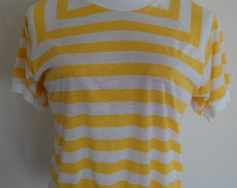 Unique 70's Striped Ringer Top Raglan Style Ultra Thin