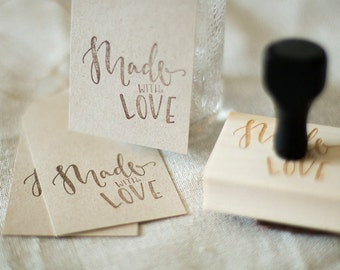 Hand Lettered/Calligraphy 'Made With Love' Stamp + Wood Handle