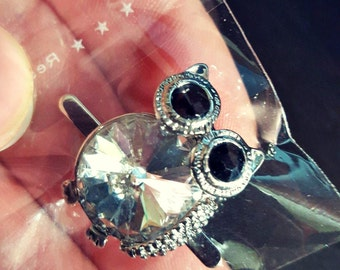 Shoe Clips Buckles Accessory Owl Halloween Silver Tone Clear Rhinestone Crafting Clip