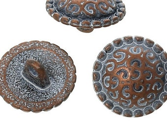 Zinc metal alloy Shank Button Metal Buttons Round Antique Copper Single Hole - Pack of 12