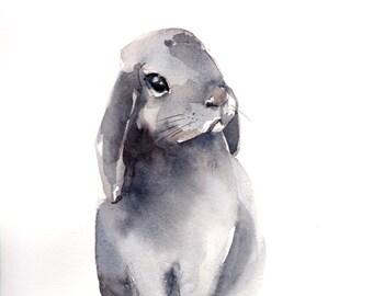 Original Watercolor Painting, Bunny Painting, Rabbit Watercolor Painting