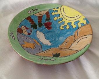 Beautiful Whimsical Orange Pottery Bowl