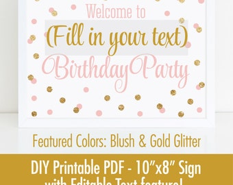 Birthday Party Welcome Sign, Printable 10x8 EDITABLE TEXT PDF - Blush Pink Gold Glitter Birthday Decorations - Girls Birthday Party Sign