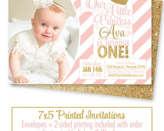 Girls First Birthday Invitations Photo Card St Birthday - First birthday invitations girl pink and gold