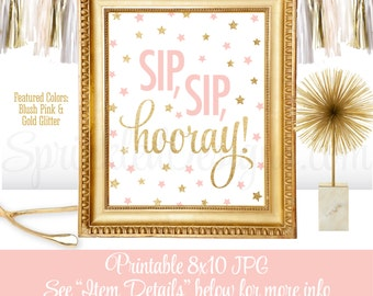 Sip Sip Hooray - Sip n See Party Sign, Blush Pink Gold Glitter Printable 8x10, Twinkle Twinkle Little Star Girl Baby Shower Decorations
