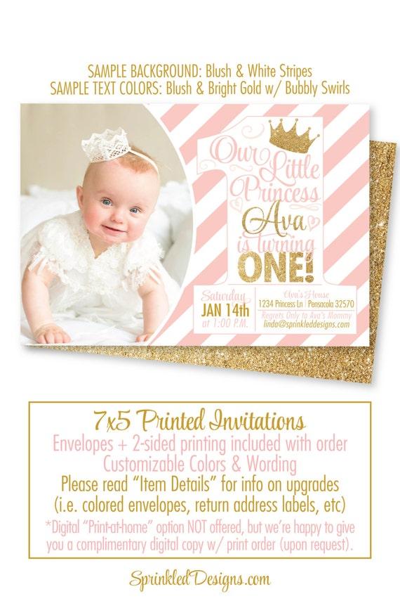 Princess Birthday Invitations Blush Pink Gold Glitter 1st – First Birthday Princess Invitations