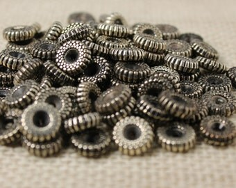Vintage Antique Silver Tire Spacer Beads (34 Pieces)