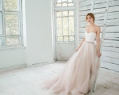Blush wedding gown, sweetheart neckline wedding dress, lace and silk bridal gown, blush tulle skirt, bridal separates // Dahlia // 2 pieces