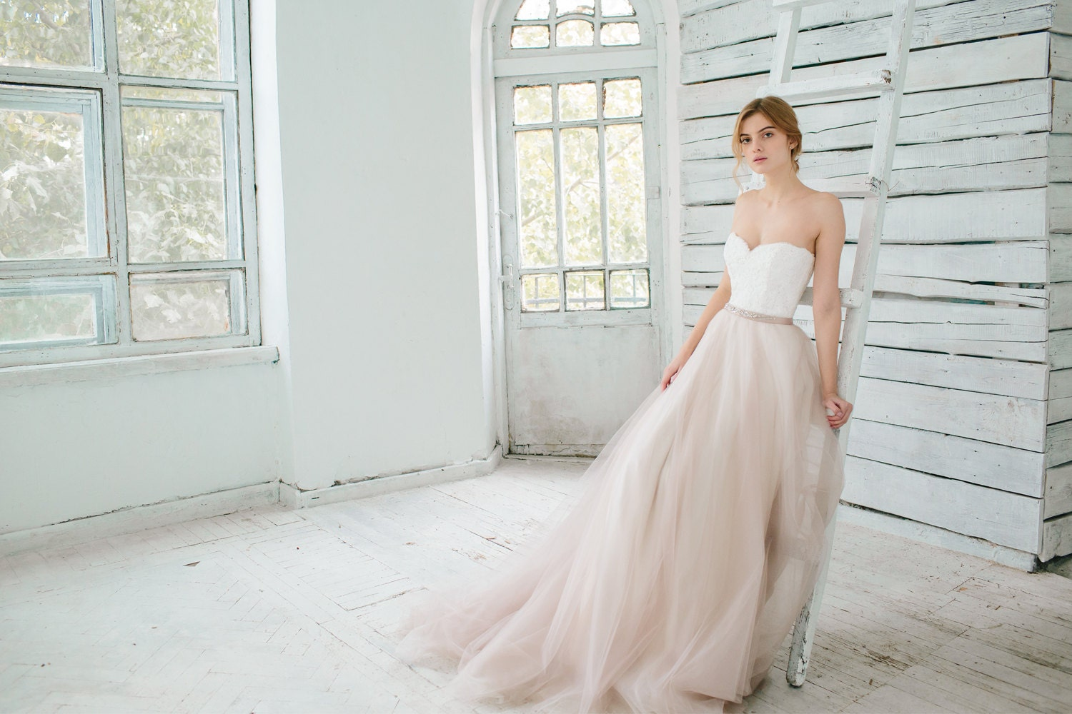 gatsby wedding dress wedding dress 2 piece Blush wedding gown Dahlia 2 pieces