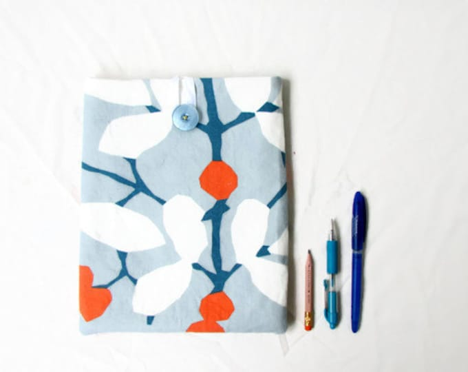 Fabric Ipad cover, 10 inch tablet case, blue and orange fabric, handmade in the UK