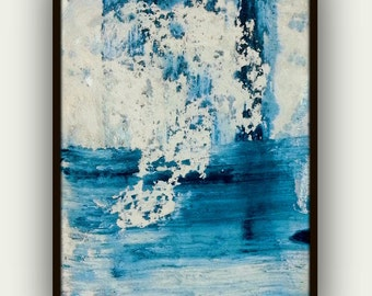 Original painting blue white turquoise abstract art minimalist modern contemporary