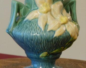 Vintage Roseville Clematis Vase 188-6