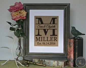 Personalized Shabby Chic Home Decor, Home Decor Gift, Personalized Burlap Decor, Burlap Print, Burlap Wall Art