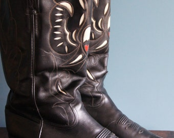 Mora men's cowboy boots Size EU 42 Black leather with cut outs Made in Spain