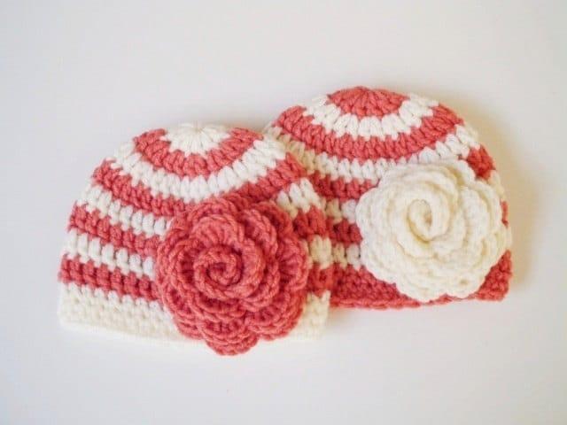 Crochet Hat Patterns For Twin Babies : Baby girl twin hats set Crochet Newborn twin hat Cream Crochet