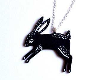 Black Rabbit Necklace, Rabbit Jewellery, Laser cut Jewellery
