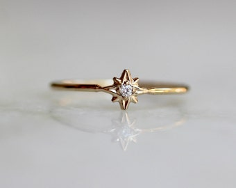 "14K Diamond ""North Star"" Ring, Dainty Ring, Solid Gold Ring, Tiny Diamond Ring, Minimal Jewelry, Stacking Ring, Astrology Jewelry"