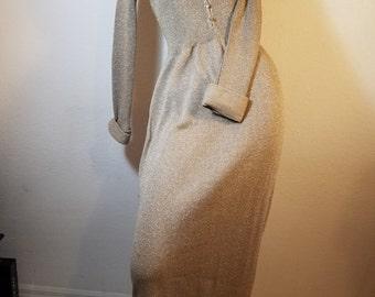 FREE  SHIPPING  1960 Lurex  Metallic  Maxi Dress