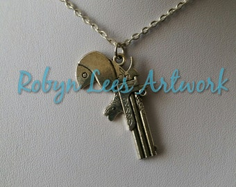 Silver Revolver Pistol Gun Flat Pendant Necklace on Silver Crossed Chain, Retro Western Style Saloon Pistol
