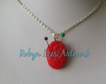 Red Polymer Clay Voodoo Human Heart Necklace with Pins Needles on Silver Crossed Chain, Style 2, Black Arts, Black Magic