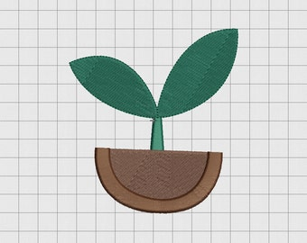 Plant Sprout Seedling Embroidery Design in 3x3 4x4 and 5x5 Sizes