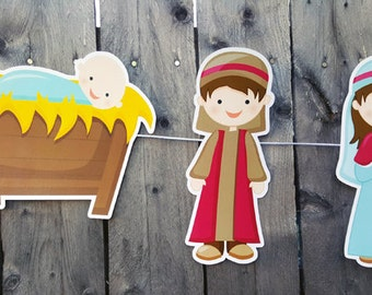 Nativity Banner, Christmas Nativity Banner, Christmas Nativity Garland, Nativity Garland