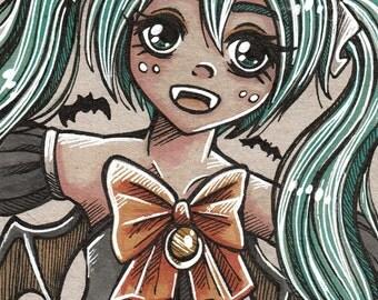 Inktober day 29 Halloween Hatsune Miku inspired Traditional/original art card (size small)