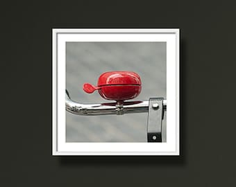 Bicycle Photography, Red Black Grey, Bicycle Bell Picture, Red Shiny Bike Bell, Office Wall Hanging. 5X5 Ikea Ribba, Fine Art Photography