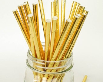 Metallic Gold Paper Straws Gold Solid Color Paper Straws Shiny Gold Straws for champagne straws bubbly girlfriend gift glitter gold metallic