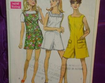 1960s 60s Vintage Mod Square Neck Pantdress or Pantjumper Mini or Above Knee Length COMPLETE Simplicity Pattern 7684 Bust 34 US 87 Metric