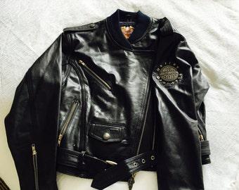Vintage Ladies Harley Davidson Drifter Jacket with Navy Blue Satin Interior Lining