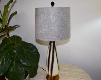 50's White Black Gray & Gold table Lamp.