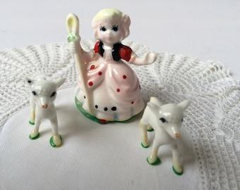 Miniature Bo Peep figurine with 2 sheep, Bone China, 1970's