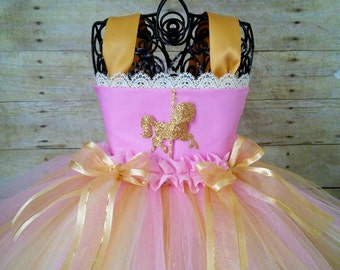 Carousel Pink and Gold Birthday Tutu Dress, Pink and Gold 1st Birthday Dress, Carnival Birthday Tutu Dress, Carousel Horse