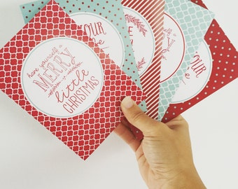 Funky Christmas Cards {Set of 5}