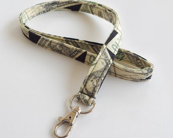 Money Lanyard / Cash Keychain / Dollar Bills / Key Lanyard / ID Badge Holder / Dollars / Cash Accessories / Money Keychains / Lanyards