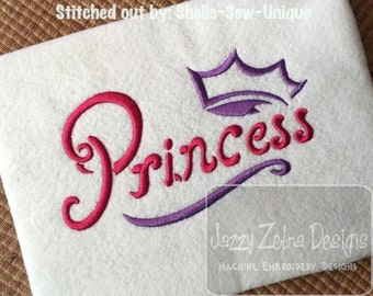 Princess Crown Satin Stitch Outline Embroidery Design - princess Embroidery Design - crown Embroidery Design - girl Embroidery Design