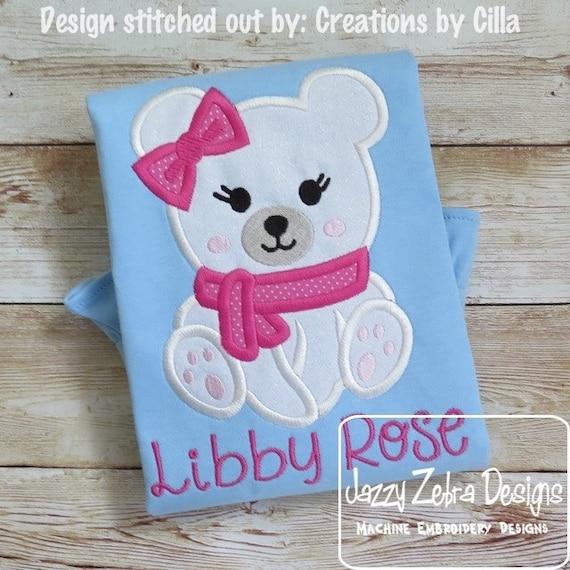 Polar Bear Girl Appliqué embroidery design - girl appliqué design - polar bear Applique Design - Winter Applique Design - bear Appliqué
