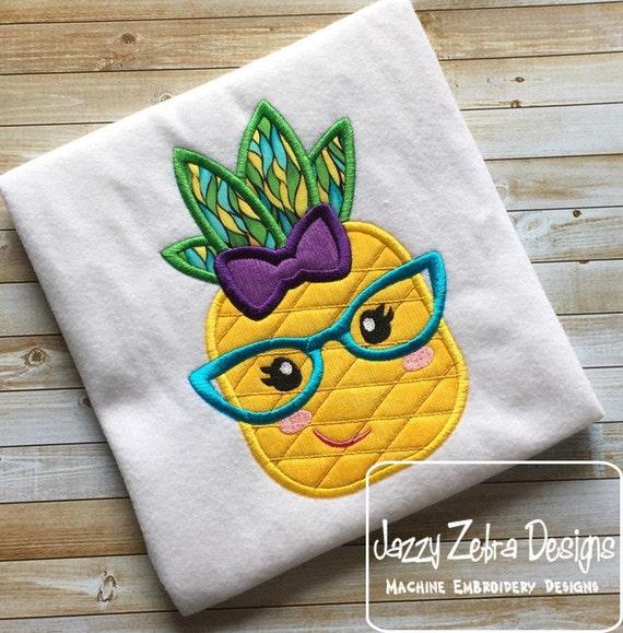 Pineapple Girl Wearing Glasses Appliqué Embroidery Design - girl appliqué design - pineapple appliqué design - summer appliqué design