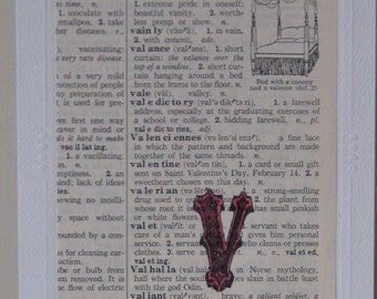 Vintage V Dictionary Page