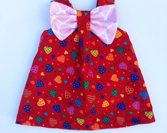 18 Inch Doll Dress - Dolly Clothes - Pink & Red Doll Dress - Dollie Valentine's Outfit - Pink Bow Tie Dress - Girl Baby Doll Heart Outfit